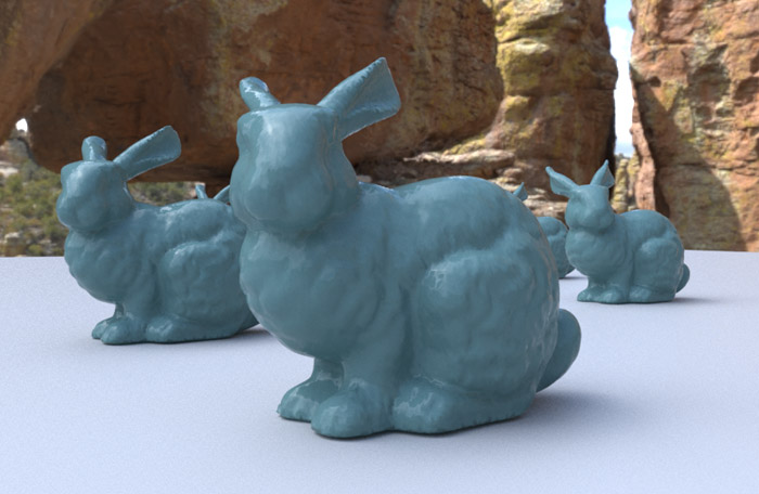 Image of some models of rabbits created using render proxies