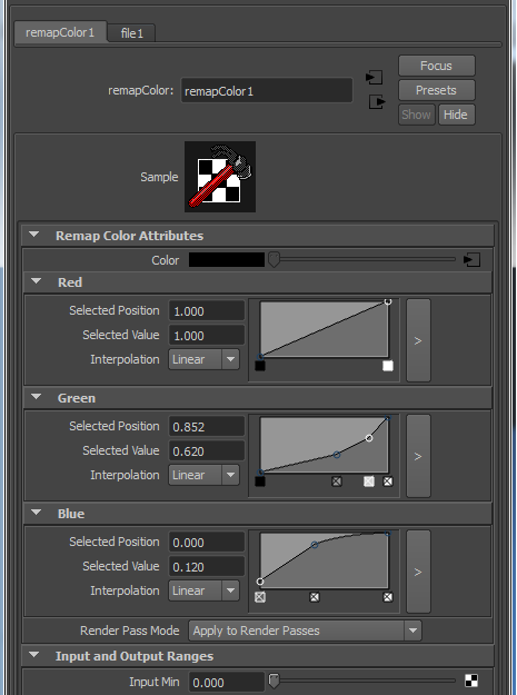 image of the remap color used for the grading of a texture
