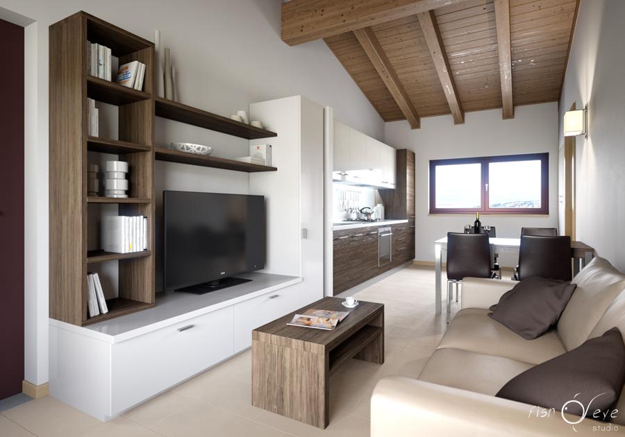 Rendering appartamento residence toscana fisheye studio for Rendering 3d interni