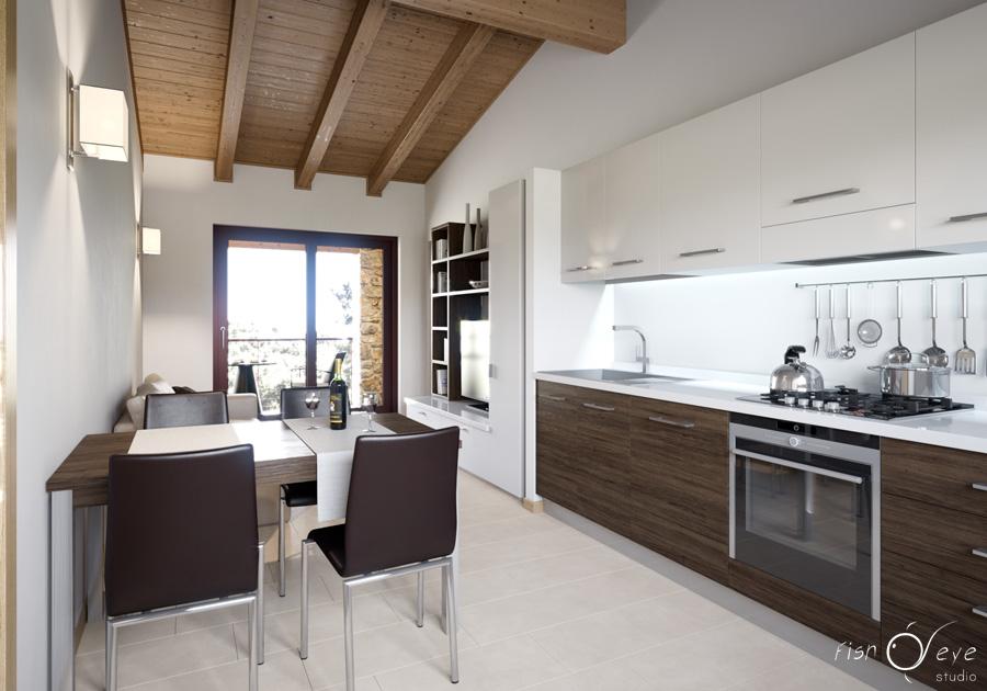 Rendering appartamento residence toscana fisheye studio