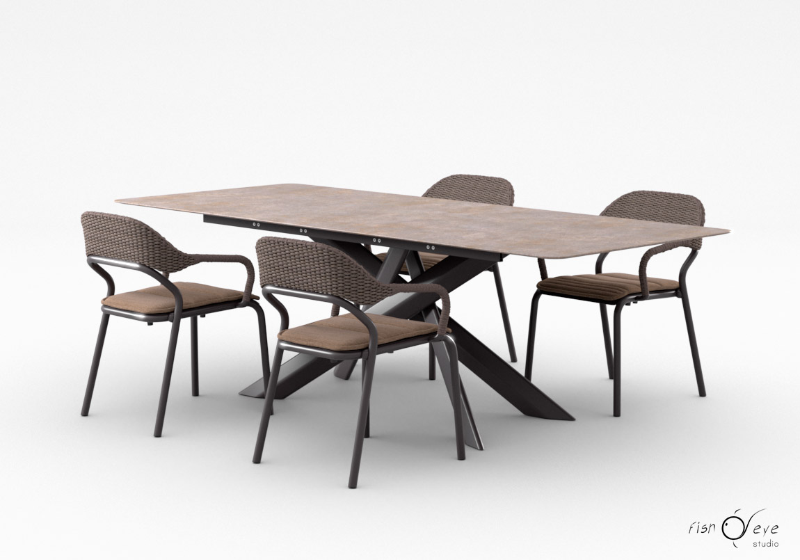 System Star table with Noss chairs by Varaschin 01 3D models 01